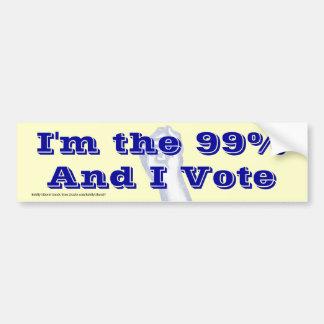 I'm The 99% (and I vote) bumpersticker Car Bumper Sticker