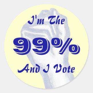 I'm The 99% (and I vote) sticker