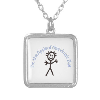I'm The Apple Of Grandma's Eye Silver Plated Necklace