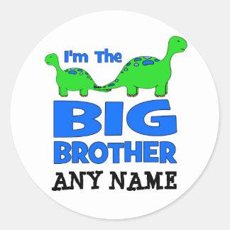 I'm the BIG Brother! Custom Dinosaur Design Classic Round Sticker