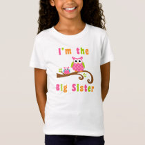 Im the Big Sister Cute Pink Owls T-Shirt