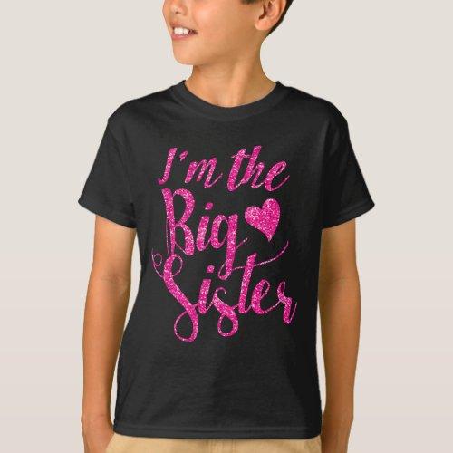 Im the Big SisterHot Pink Glitter_Print T_Shirt