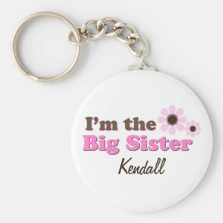 I'm The Big Sister Mod Flowers Personalized Basic Round Button Keychain