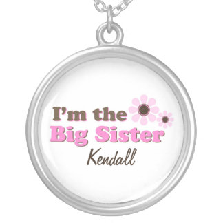 I'm The Big Sister Mod Flowers Personalized Round Pendant Necklace