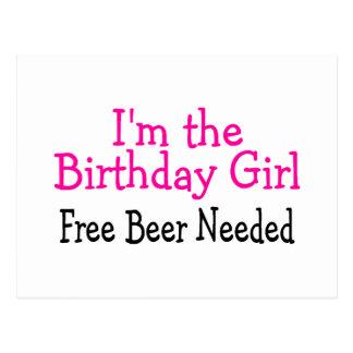 Im The Birthday Girl Free Beer Needed Postcard