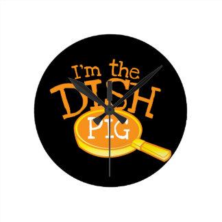 I'm the DISH PIG with a saucepan Wallclocks