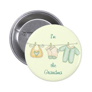 Im the Grandma Baby Birth Announcement Custom Name Pinback Button