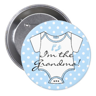 I'm The Grandma! Blue Baby Footprints Personalized 3 Inch Round Button