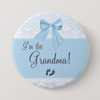 I'm The Grandma Blue Lace Pinback Button