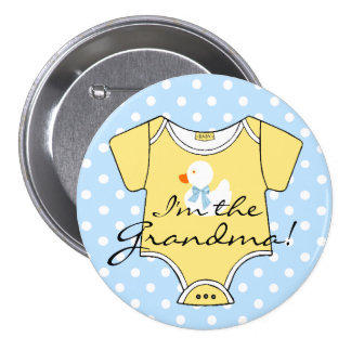 I'm The Grandma Blue Polka Dots and Yellow 3 Inch Round Button