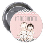 I'm the Grandma - Boy and Girl Twins Baby Shower 3 Inch Round Button