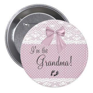 I'm The Grandma Lavender Bow With White Lace Pinback Button