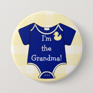 I'm The Grandma Navy Blue on Yellow Gingham Pinback Button