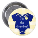 I'm The Grandma Navy Blue on Yellow Gingham Pinback Button