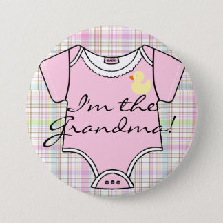 I'm The Grandma on Pink Plaid with Yellow Duck Button