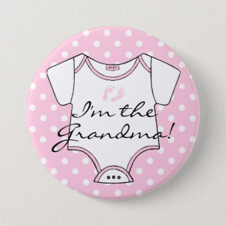 I'm The Grandma Pink Polka Dot Button