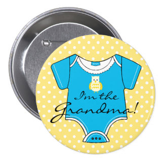 I'm The Grandma Yellow and Blue Baby Shower 3 Inch Round Button