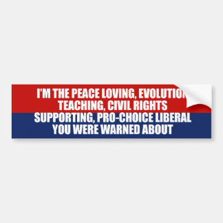 I'm the liberal you were warned about car bumper sticker