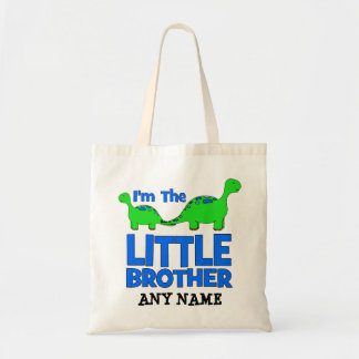 I'm The LITTLE BROTHER!  Custom Dinosaur Gift Tote Bag