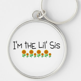 Im The Little Sis Sunflower Silver-Colored Round Keychain