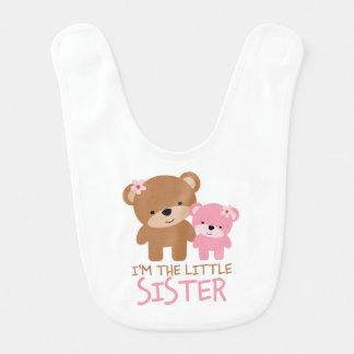 """I'm the Little Sister"" Cute Bears Baby Bib"