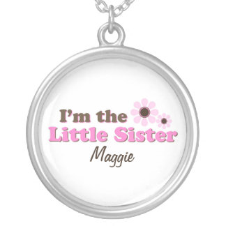 I'm The Little Sister Mod Flowers Personalized Round Pendant Necklace