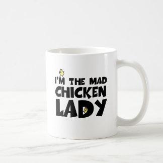 I'm the mad chicken lady basic white mug