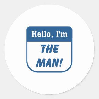 I'm the man t-shirts. classic round sticker