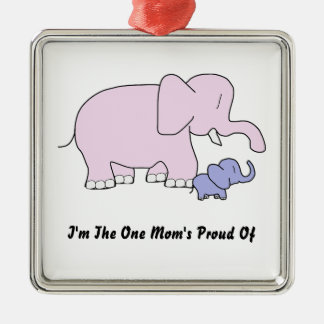 I'm the one mom's proud of Silver-Colored square ornament