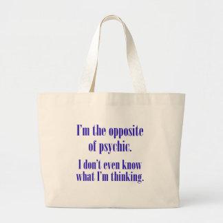 I'm the opposite of psychic jumbo tote bag