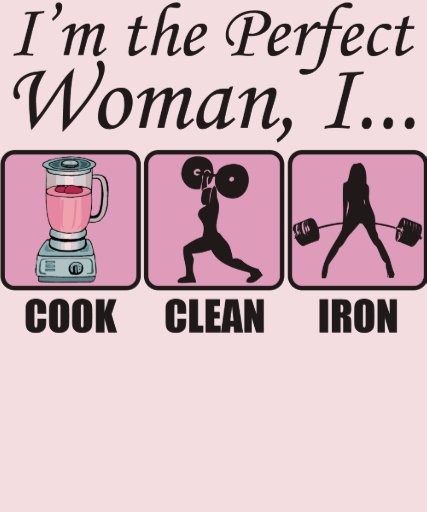 The Perfect Woman - I Cook, Clean and Iron T-shirts