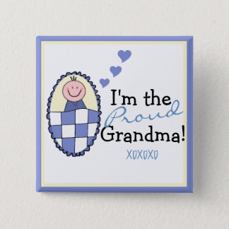 I'm The Proud Grandma-Blue Button