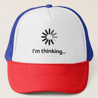I'm thinking (loading   nerd) white background trucker hat