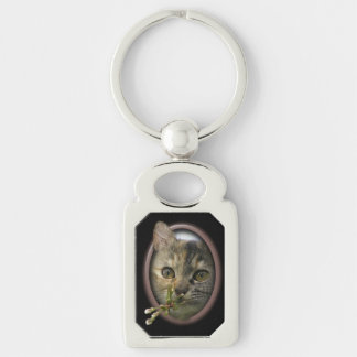 Im thinking of you Silver-Colored rectangular metal keychain