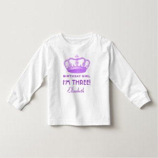 I'm Three 3rd Birthday Crown Custom Name Toddler T-shirt