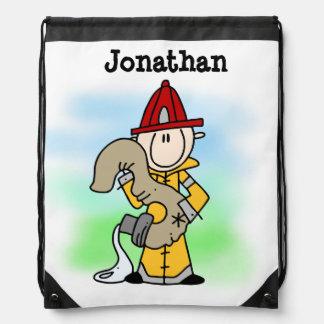 I'm Three Firefighter Drawstring Bag