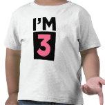 I'm Three Pink Third Birthday Shirt