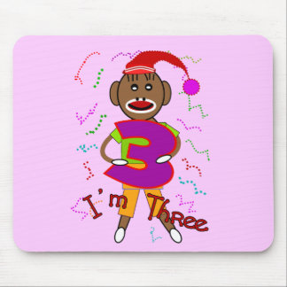 """Im Three"" Sock Monkey -Adorable Kids t-shirts Mouse Pad"