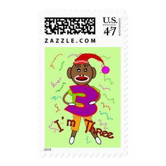 """Im Three"" Sock Monkey -Adorable Kids t-shirts Postage"