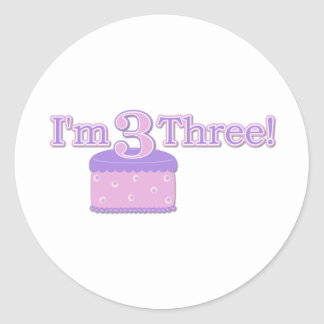 I'm Three Years Old Classic Round Sticker