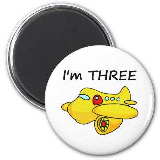 I'm Three, Yellow Plane 2 Inch Round Magnet