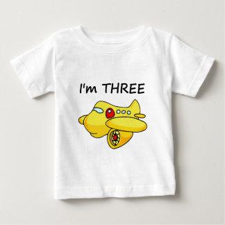 I'm Three, Yellow Plane Baby T-Shirt