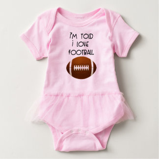 I'm Told I Love Football Tutu Baby Bodysuit