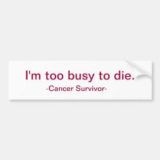 I'm too busy to die. car bumper sticker