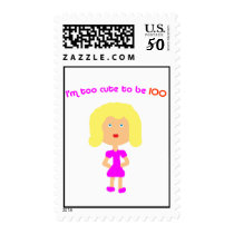 I'm too cute to be 100 Blk Postage