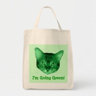 Im tote orgánico del ultramarinos del gatito verde bolsas de mano
