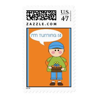 i'm turning 5 stamp (boy)