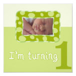 "I'm Turning One Birthday Party Invitation 5.25"" Square Invitation Card"