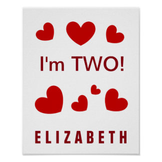 I'm Two Cute Red Hearts Custom Name 2 Year Old Poster
