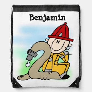 I'm Two Firefighter Drawstring Bag
